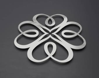 Interlocked Hearts 3D Metal Wall Art Sculpture w/ Silver Brushed Metal Finish, Large Modern Heart Wall Decor by Arte & Metal