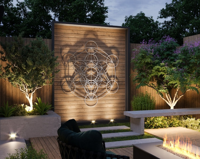 Featured listing image: Metatron Cube Outdoor Metal Wall Art, Large Outdoor Sculpture, Sacred Geometry Decor, Stainless Steel, Modern Outdoor Wall Art, Garden Art