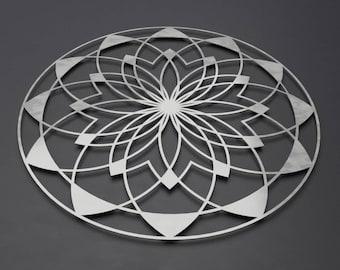 Lotus Mandala Metal Wall Art Sculpture, Large Metal Wall Decor, Sacred Wall Art, Modern Metal Wall Art, Silver Metal Wall Art, Loft Wall Art