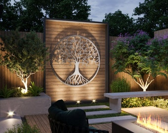 Tree of Life Outdoor Metal Wall Art, Large Metal Tree Wall Art, Modern Outdoor Decor,