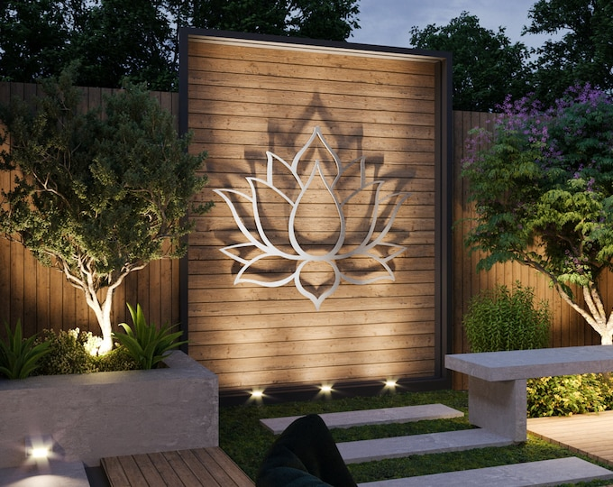 Featured listing image: Lotus Flower Large Outdoor Metal Wall Art, Garden Sculpture, Zen Decor, Modern Outdoor Wall Art, Yoga Wall Art, Silver Wall Art