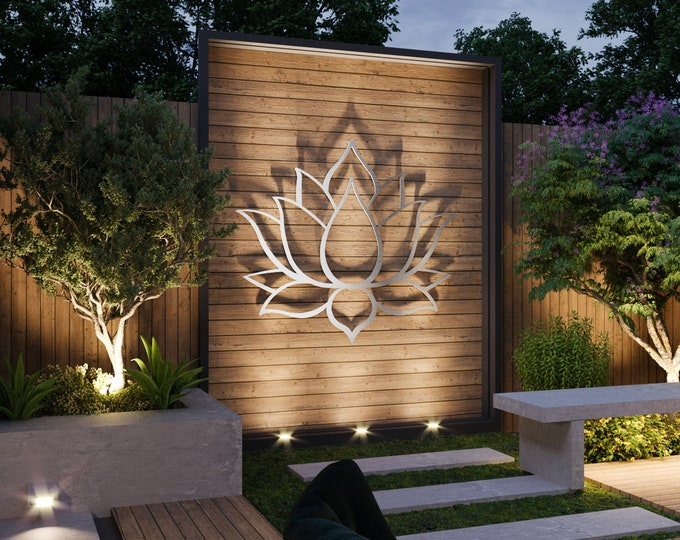 Featured listing image: Lotus Flower Large Outdoor Metal Wall Art, Garden Sculpture, Zen Decor, Modern Outdoor Wall Art, Yoga Wall Art, Silver Wall Art