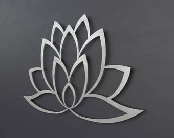 Abstract Lotus Flower Metal Wall Art, Lotus Metal Art, Lotus Flower Wall Art Home Decor, Large Metal Wall Art, Yoga Metal Art, Brushed Metal
