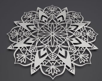 "Lotus Mandala II Metal Wall Art, Mandala Wall Decor, Modern Metal Wall Sculpture, Large Mandala Wall Art, Yoga studio Art, 36"" x 36"""