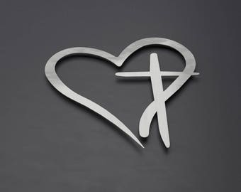 Modern Metal Wall Cross with Heart, Christian Wall Art, Large Metal Wall Art, Christian Wall Decor, 3D Wall Sculpture, Heart Shaped Wall Art