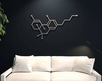 XL THC Molecule Large Metal Wall Art, Science Wall Decor, Extra Large Metal Wall Art, Nerdy Decor, Modern Metal Wall Art, Cannabinoid