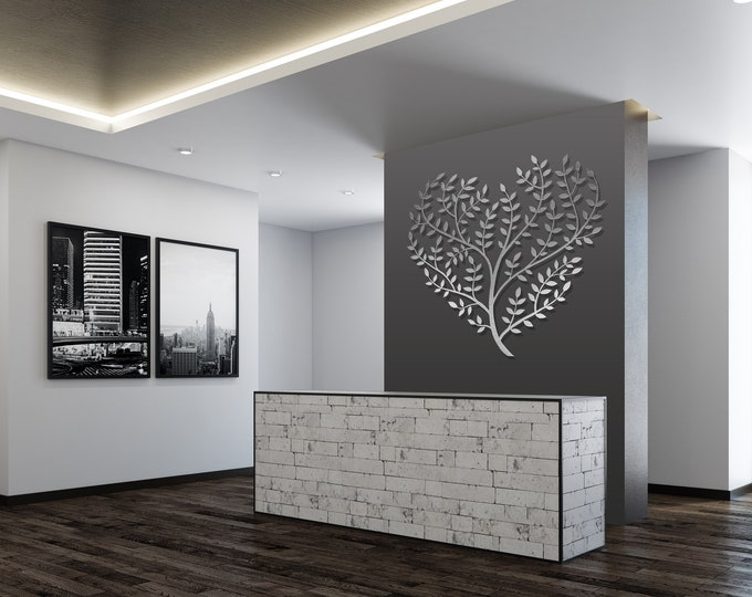 Featured listing image: Extra Large Metal Wall Art, Tree of Life, Heart Shaped, Tree Art, Sculpture, Modern Metal Wall Art, Stainless Steel, By Arte & Metal