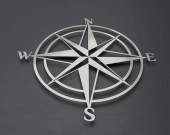 3D Compass Metal Wall Art, Nautical Rose Compass, Large Metal Wall Art, Nautical Wall Decor Outdoor Art, Metal Compass rose, Silver Wall Art