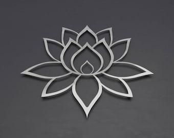 Lotus Flower Metal Wall Art, Lotus Metal Art, Lotus Flower Wall Art Home Decor, Large Metal Wall Art, Brushed, Lotus of Enlightenment I