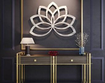 Lotus Flower Metal Wall Art, Metal Flower Wall Art, Large Metal Art, Geometric Sculpture, Contemporary Metal Wall Art, Silver Wall Art,