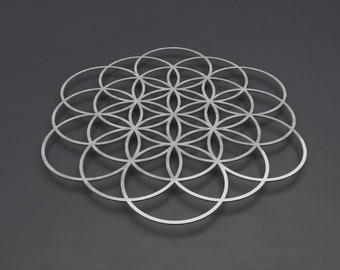 "Flower of Life Large Metal Wall Art, Modern Wall Sculpture, Sacred Geometry Wall Art, Metal Flower of Life Art, Silver Wall Decor, 36"" x 36"""