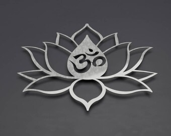 Om Lotus Flower Metal Wall Art, Om Wall Decor, Om Wall Art, Spiritual Wall Art, Yoga Wall Decor, Hindu Wall Art, Modern, Om Symbol