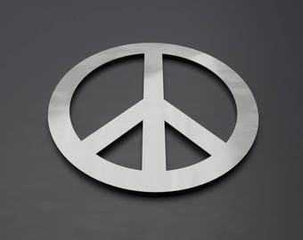 Peace Symbol Metal Wall Art,  Circle Wall Art, Peace Sign Wall Decor, Large Metal Wall Art, Wall Sculpture, Silver, Modern, Home Decor