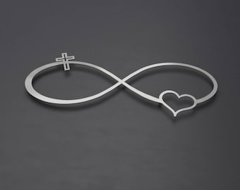 Infinity Symbol Metal Wall Art, Metal Wall Cross, Heart, Infinity Wall Decor, Christian Wall Art, Christian Wall Decor, Metal Wall Sculpture