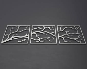 Tree Branches Outdoor Metal Wall Art, 3 Piece Multi Panel Wall Art, Large Metal Wall Art, Outdoor Wall Sculpture, Modern Outdoor Decor