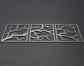 Tree Branches w/o Birds Outdoor Metal Wall Art, 3 Piece Multi Panel Art, Large Metal Wall Art, Outdoor Wall Sculpture, Modern Outdoor Decor