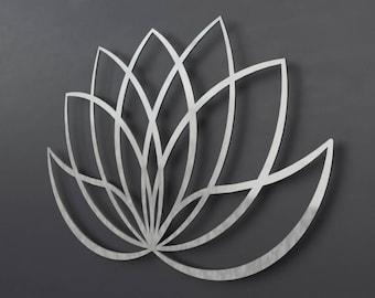 Modern Lotus Flower Metal Wall Art Sculpture, Lotus Flower Art, Silver Wall Art, Large Metal Wall Art, Modern Home Decor, Yoga Wall Art