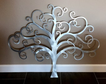 Metal Tree Wall Art, Tree of Life Wall Decor, Metal Tree Wall Art, Contemporary Silver Metal Wall Art Sculpture, Large Metal Wall Art Decor