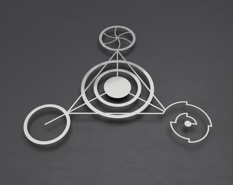 "Crop Circle Modern Abstract Metal Wall Art Sculpture, Large Metal Wall Art, Silver 3D Wall Art, Barbury III by Arte & Metal 36"" x 33"""