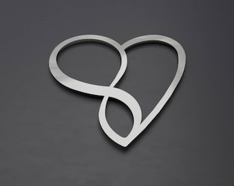 Infinity Heart Metal Wall Art, Heart Wall Decor, Modern Contemporary Sculpture, Silver Wall Art, Large Wall Art, Unique Home Decor