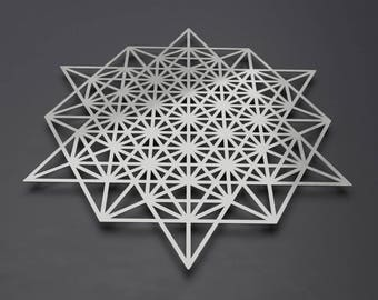 64 Sided Tetrahedron Metal Wall Art Sculpture, Sacred Geometry Decor, Large Metal Wall Art, Silver Metal Wall Art, Loft or Modern Home Decor