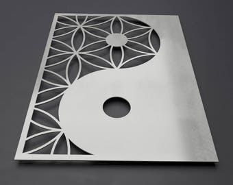 Yin Yang Metal Wall Art Sculpture, Zen Wall Decor, Modern Metal Wall Art, Large Metal Wall Art, Narrow Wall Art, Sacred Geometry, Rectangle