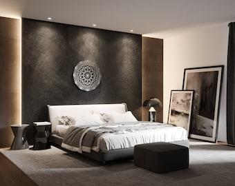 "Tesseract Sacred Geometry Wall Art, Large Metal Wall Art, Sacred Geometry Decor, Circular, Geometric, Modern Wall sculpture 36""x 36"""