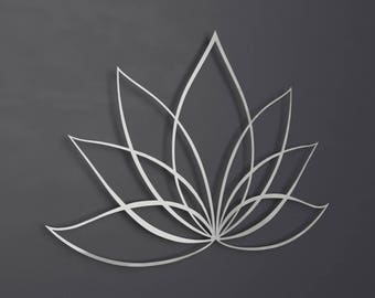 Silver Lotus Flower Metal Wall Art, Lotus Metal Art, Lotus Flower Wall Art Home Decor, Large Metal Wall Art, Yoga Metal Art, Brushed Metal