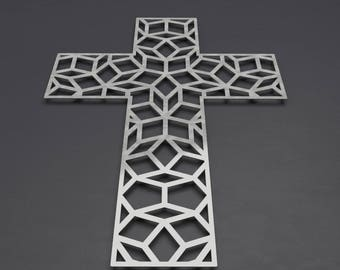 Penrose Metal Wall Cross Sculpture, Large Wall Cross, Christian Home Decor, Metal Wall Crosses, Large Metal Wall Art, Contemporary, Silver