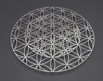 "Flower of Life Sacred Geometry Metal Wall Art, Large Wall Sculpture, Flower of Life Art, Metal Flower of Life, Silver Wall Decor, 36"" x 36"""