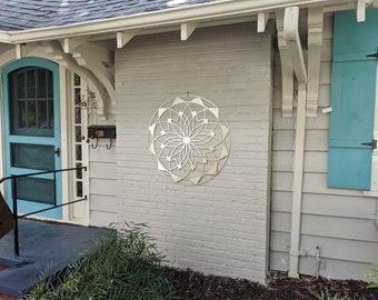 "Outdoor Large Metal Wall Art - Lotus Mandala III - Extra Large Wall Sculpture by Arte & Metal - Stainless Steel - 46"" x 46"""
