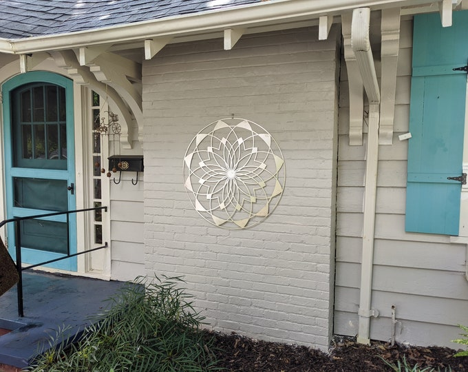 """Featured listing image: Outdoor Large Metal Wall Art - Lotus Mandala III - Extra Large Wall Sculpture by Arte & Metal - Stainless Steel - 46"""" x 46"""""""