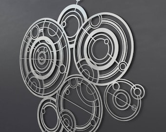 "Dr Who Gallifreyan Large Metal Wall Art, Science Wall Art, Modern Metal Wall Sculpture, Silver Metal Wall Decor, Nerdy Wall Art, 36"" x 32"""