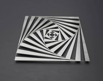 Op Art Metal Wall Sculpture, Geometric Metal Wall Art, Square Abstract Art, Metal Wall Decor, Metal Wall Panel, Large Metal Wall Art, Silver