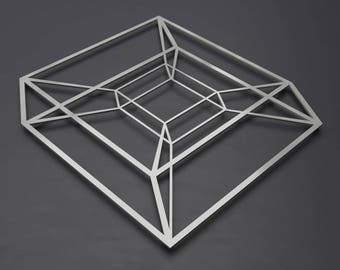 Tesseract Hybercube Metal Wall Art Sculpture, Science Wall Art, Modern Metal Wall Decor, Silver Metal Wall Art, Nerdy Art, Loft Wall Decor