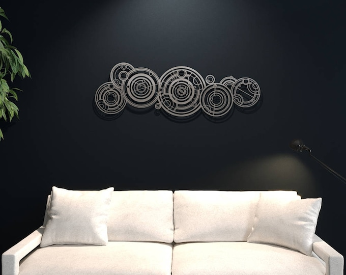 Featured listing image: XL Doctor Who Gallifreyan Large Metal Wall Art, Science Wall Decor, Modern Metal Wall Sculpture, Silver Metal Wall Art, Nerdy, Loft Wall Art