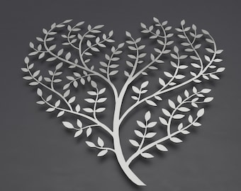 "Heart Tree of Life Large Metal Wall Art, 3D Wall Sculpture, Tree Metal Wall Art, Tree Art, Modern Metal Wall Decor, Silver Art,  36"" x 36"""