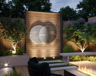 Vesica Piscis Sacred Geometry Outdoor Metal Wall Art Sculpture, Extra Large Metal Wall Art, Modern Outdoor Decor, Geometric Wall Art
