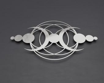 "Crop Circle Modern Abstract Metal Wall Art Sculpture, Large Metal Wall Decor, Silver 3D Wall Art, Moon II by Arte & Metal 36"" x 20"""