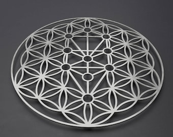 Kabbalah Tree of Life Metal Wall Art Sculpture, Sephiroth or Sefirot Tree, Flower of Life Wall Art, Sacred Geometry Decor, Loft Wall Decor