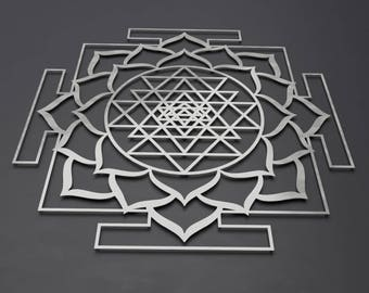 "Square Sri Yantra Lotus Mandala Metal Wall Art Sculpture, Large Metal Wall Art, Sacred Geometry, Sri Chakra, Yoga Art, Hindu Art, 36"" x 36"""