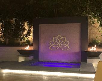Lotus Flower Outdoor Metal Wall Art Sculpture, Modern Home Decor, Extra Large Metal Wall Art, Modern Outdoor Wall Art, Spa Wall Art,