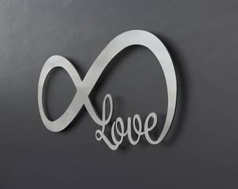 Infinity Symbol Metal Wall Art, Love Metal Wall Art, Love Sign, Wall Decor, Modern, Large Metal Wall Art, Wall Sculpture, Home Decor, Silver