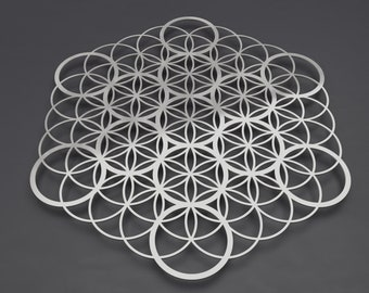 "Flower of Life Sacred Geometry Metal Wall Art, Flower of Life Art, Metal Flower of Life, Large Metal Wall Decor,  Fruit of Life V 36"" x 32"""