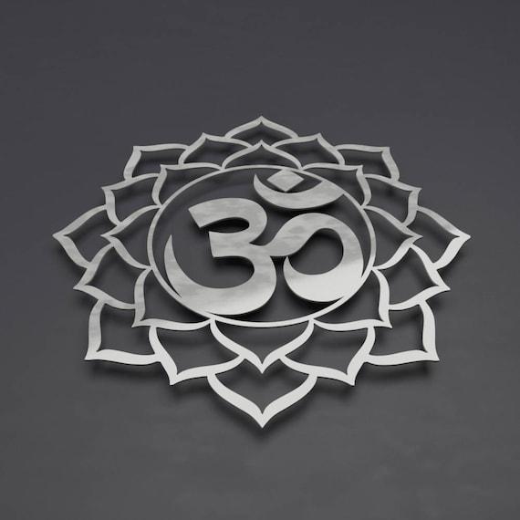 Om Sign Metal Wall Art Sculpture Om Lotus Flower Mandala Etsy