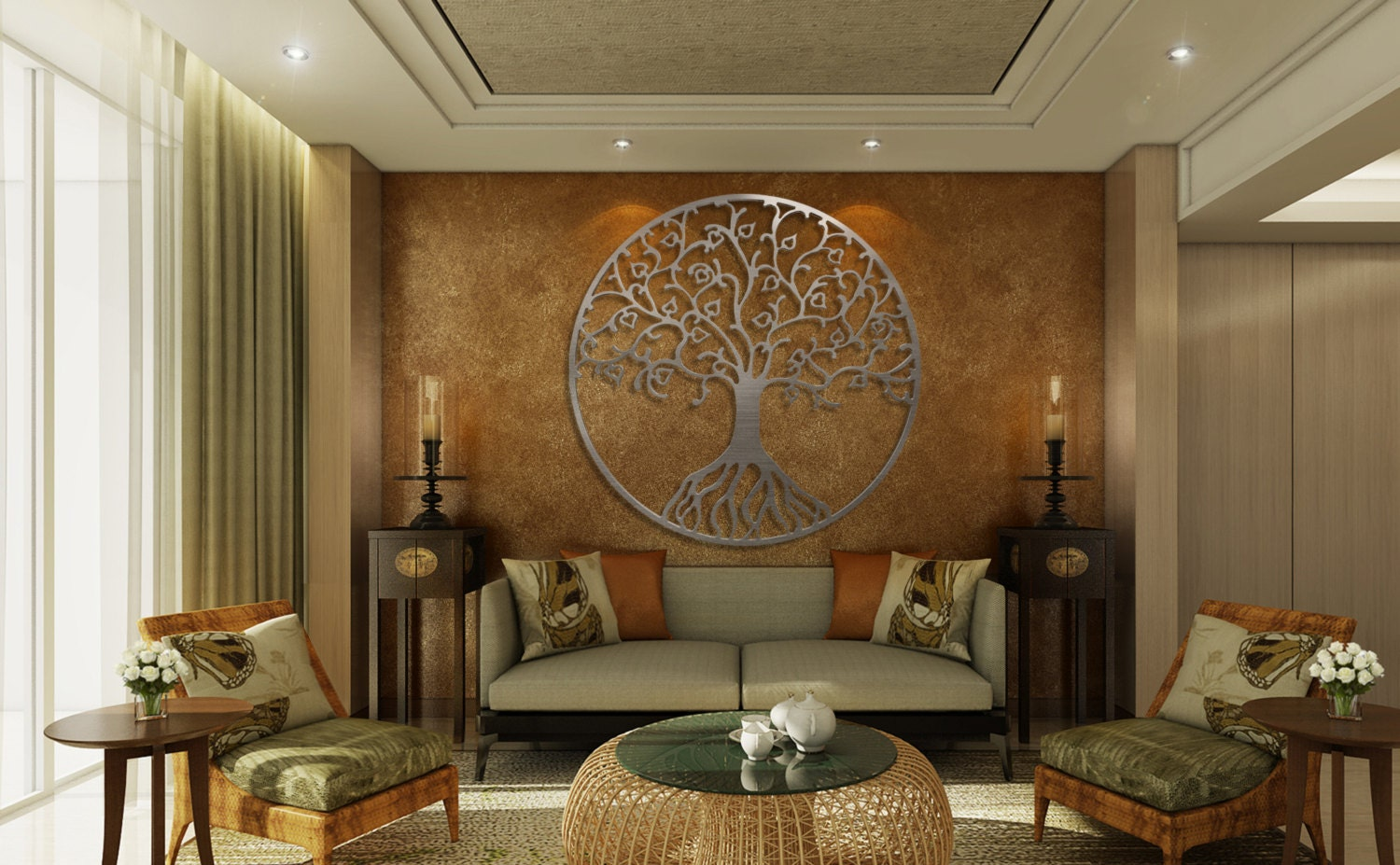 68f886995e Tree of Life Metal Wall Art, Metal Tree Wall Art, Circle Wall Art, Silver,  Modern Wall Decor, Large Metal Wall Art, 3D Wall Sculpture