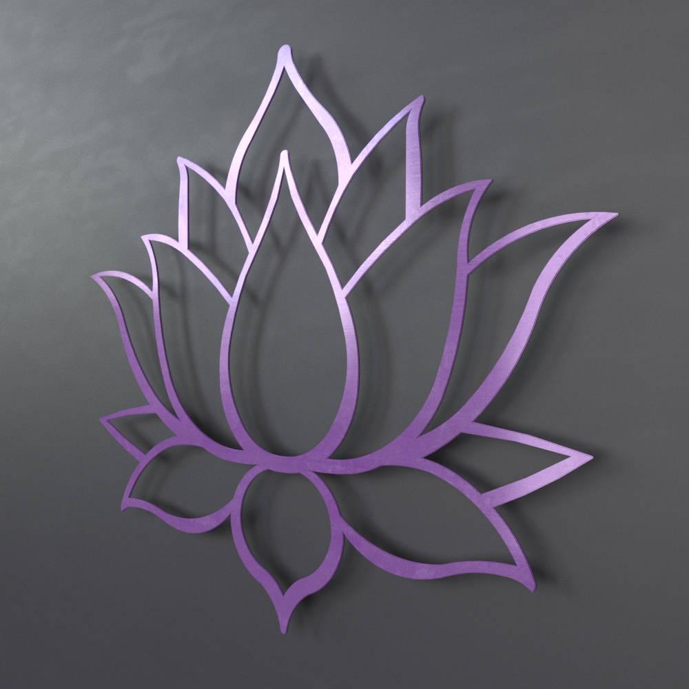 Purple lotus flower metal wall art lotus metal art home decor meditation room decor spiritual wall art purple wall art yoga wall decor