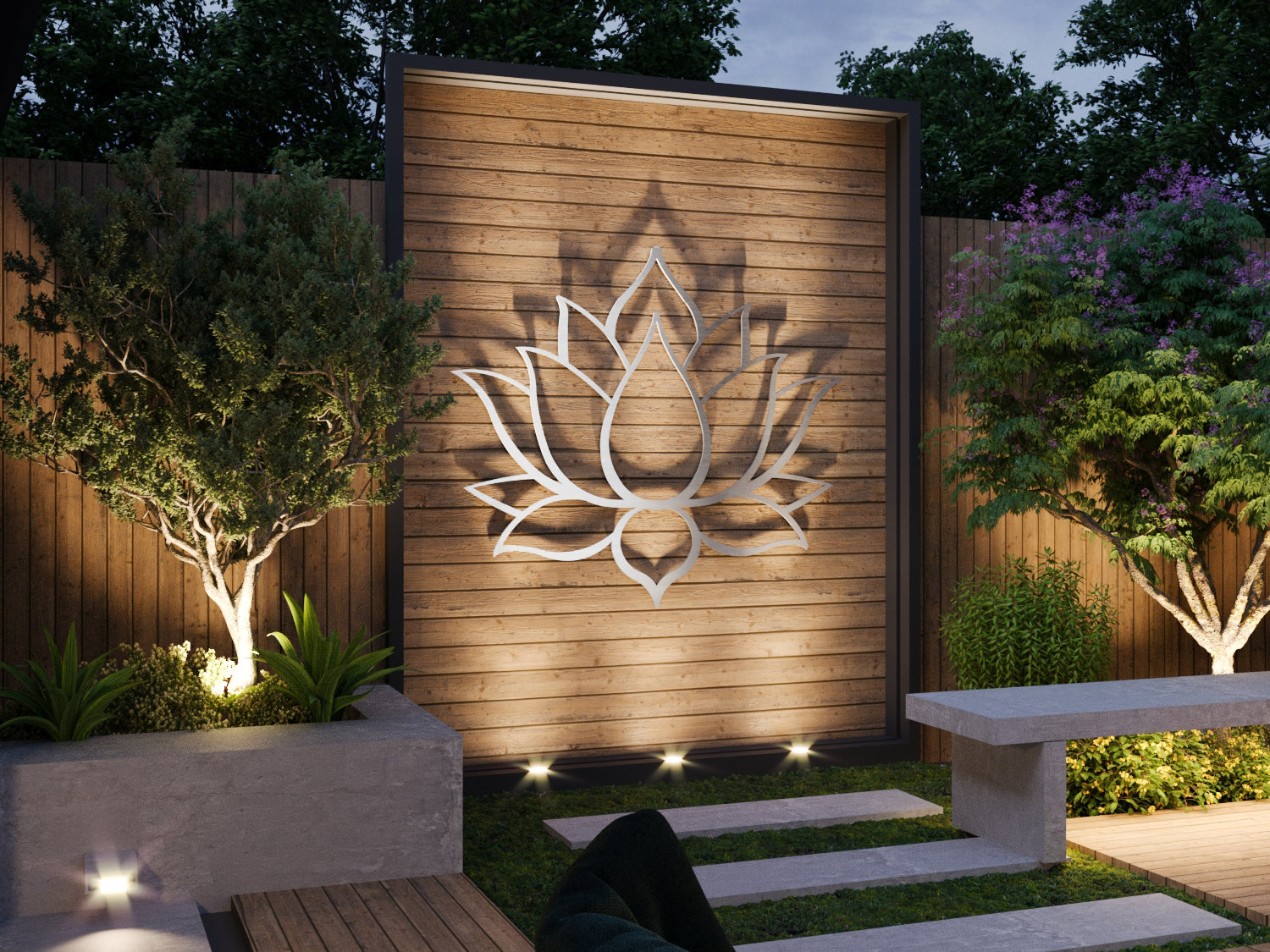 Lotus Flower Large Outdoor Metal Wall Art Garden Sculpture ...