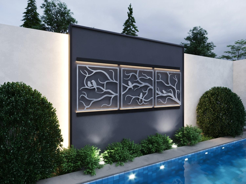 Metal Tree Wall Art Gallery: Tree Branches W/ Birds Outdoor Metal Wall Art, 3 Piece