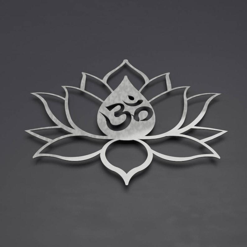 Om Lotus Flower Metal Wall Art Om Wall Decor Om Wall Art Etsy